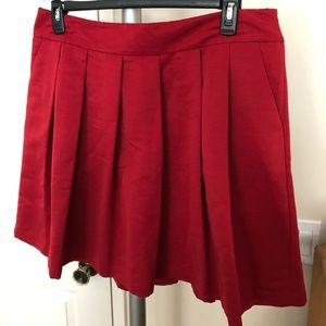 NWT Holiday Red Pleated Skirt with Pockets